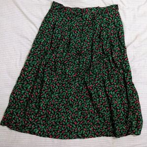 Vintage Christmas mistletoe pleated full skirt